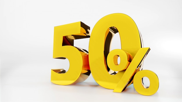 50% símbolo dourado