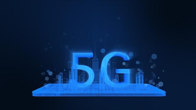 5g no edifício da cidade em wireframe azul e no telefone celular, partícula de luz brilhante. renderização 3d.
