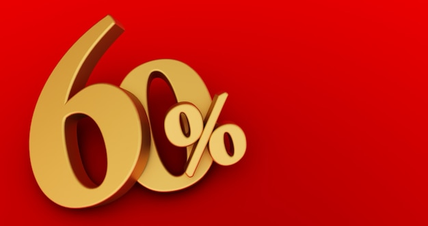 60% de desconto. ouro sessenta por cento. ouro sessenta por cento sobre fundo vermelho. 3d render.