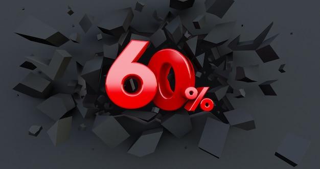 60 venda de dez por cento. idéia de black friday. até 60%. parede preta quebrada com 60% no centro