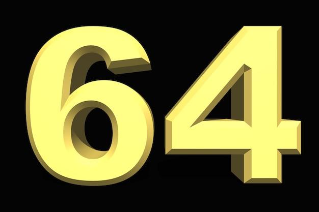 64 sessenta e quatro números 3d azul em um fundo escuro
