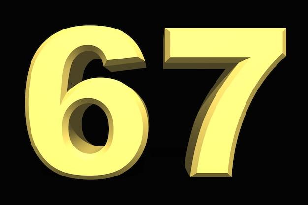 67 sessenta e sete números 3d azul em um fundo escuro