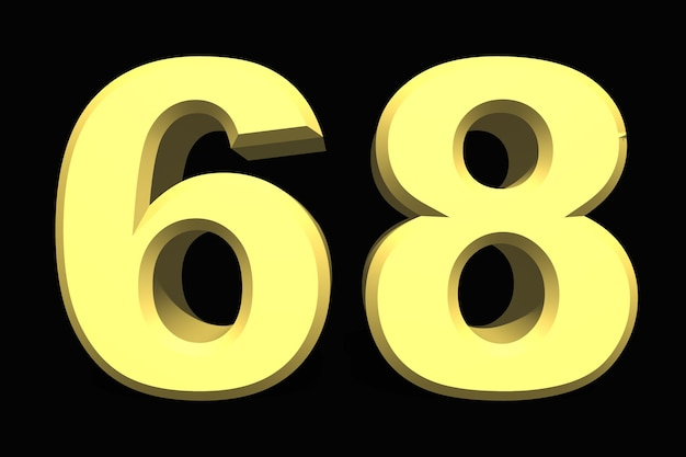 68 sessenta e oito números 3d azul em um fundo escuro