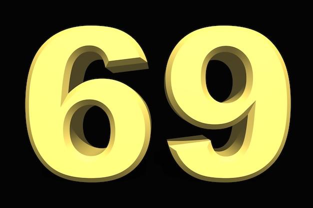69 sessenta e nove número 3d azul em um fundo escuro