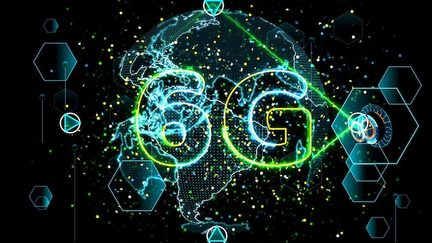 6g rede super velocidade internet mapa mundial digital em monitor digital medidor ciclo radar medidor eletrônico 3d dentro de dados enviados por satélite quântico enviar sinal star brust background