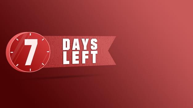 7 dias restantes rótulo, contagem regressiva de números 3d