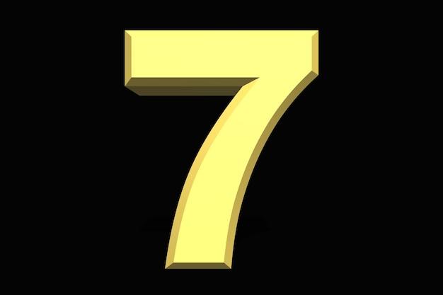 7 sete número 3d azul em um fundo escuro