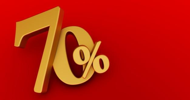70% de desconto. setenta por cento de ouro. ouro setenta por cento sobre fundo vermelho. 3d render.