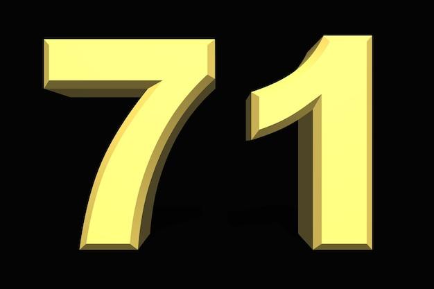 71 setenta e um número 3d azul em um fundo escuro