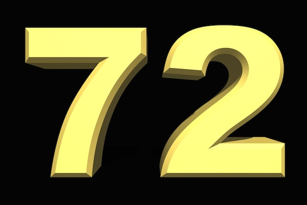 72 setenta e dois número 3d azul em um fundo escuro