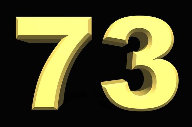 73 setenta e três números 3d azul em um fundo escuro