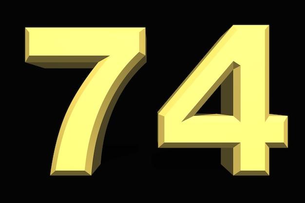 74 setenta e quatro números 3d azul em um fundo escuro