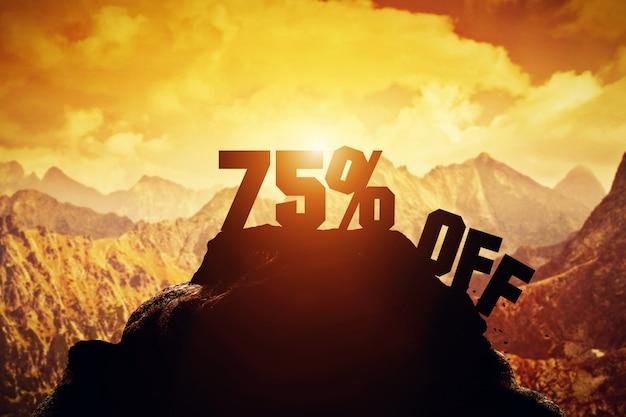 75% de desconto na escrita em um pico de montanha.