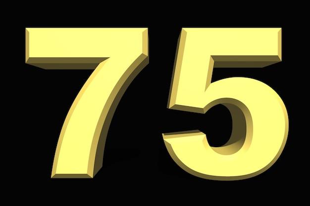 75 setenta e cinco números 3d azul em um fundo escuro