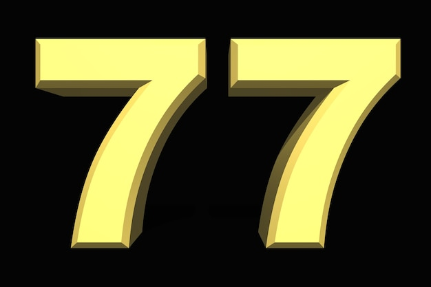 77 setenta e sete números 3d azul em um fundo escuro