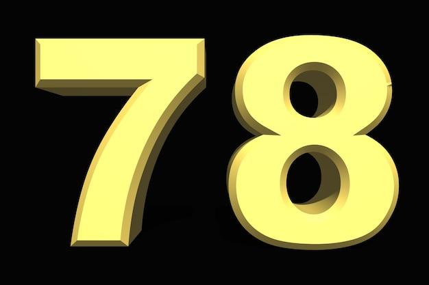78 setenta e oito números 3d azul em um fundo escuro