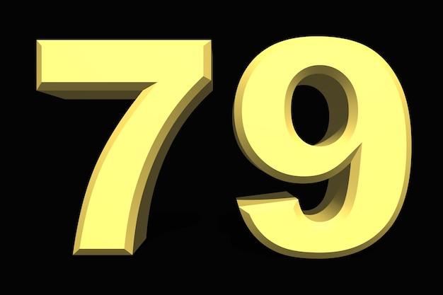 79 setenta e nove número 3d azul em um fundo escuro