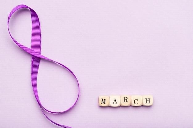 8 de março bonito símbolo de fita