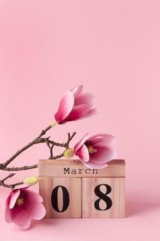 8 de março de letras com espaço de cópia