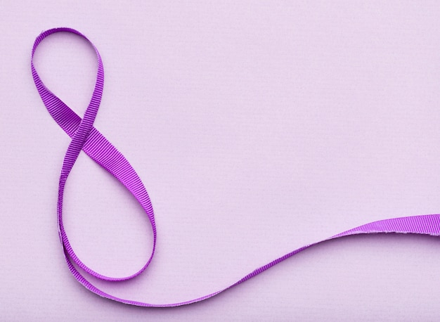 8 de março de símbolo de fita