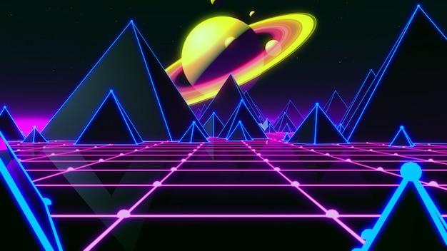 80s estilo futurista de fundo retrô dos anos 80