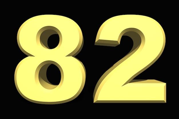 82 oitenta e dois números 3d azul em fundo escuro