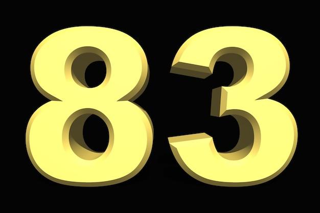 83 oitenta e três números 3d azul em um fundo escuro