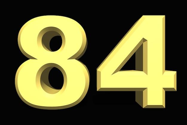 84 oitenta e quatro números 3d azul em fundo escuro
