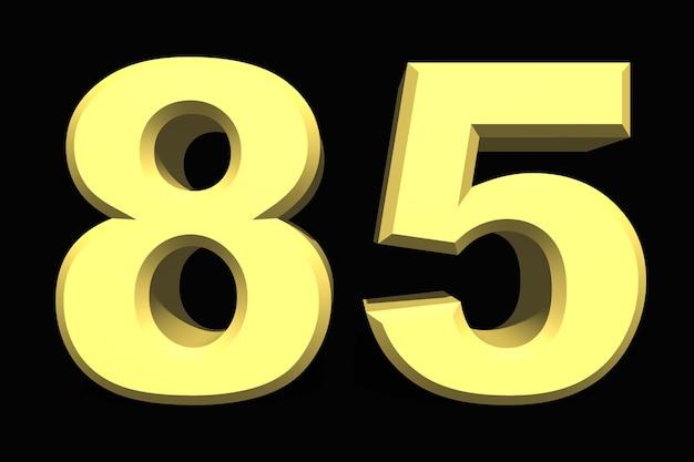 85 oitenta e cinco números 3d azul em fundo escuro
