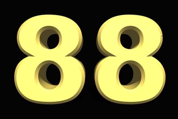 88 oitenta e oito números 3d azul em um fundo escuro