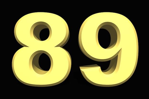 89 oitenta e nove número 3d azul em um fundo escuro