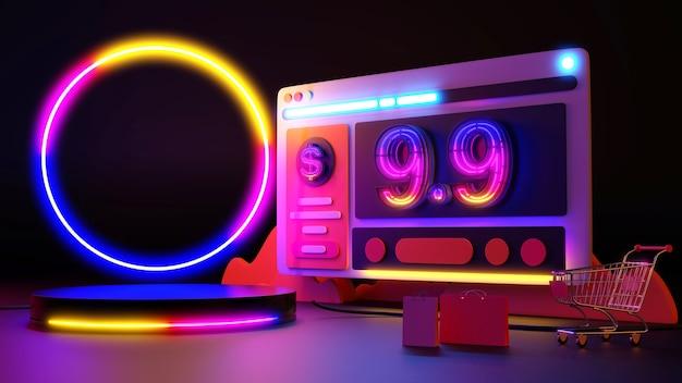 9.9 a luz de néon brilha nas compras online. renderização 3d