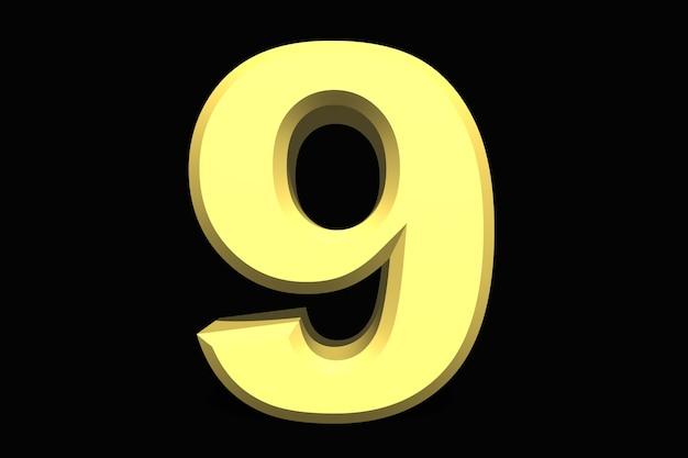 9 nove número 3d azul em fundo escuro