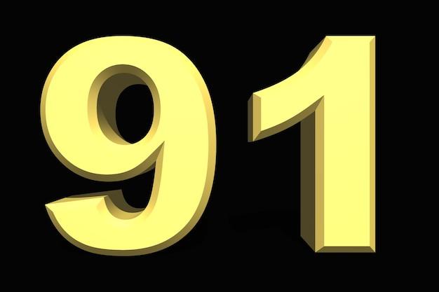 91 noventa e um número 3d azul em um fundo escuro