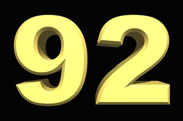 92 noventa e dois números 3d azul em um fundo escuro