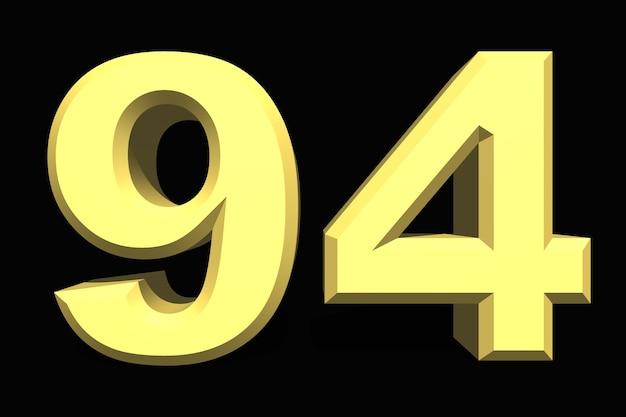 94 noventa e quatro números 3d azul em um fundo escuro