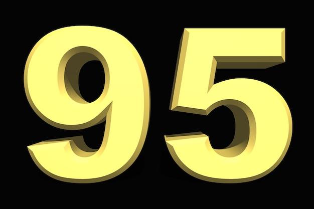 95 noventa e cinco número 3d azul em um fundo escuro