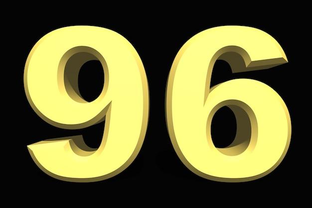 96 noventa e seis números 3d azul em um fundo escuro