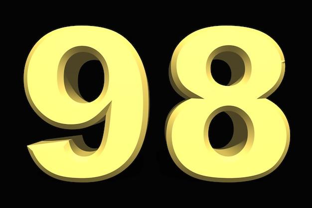 98 noventa e oito número 3d azul em um fundo escuro
