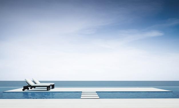 A acolhedora sala de estar ao ar livre e decoração com móveis de sofá-cama e vista para o mar.