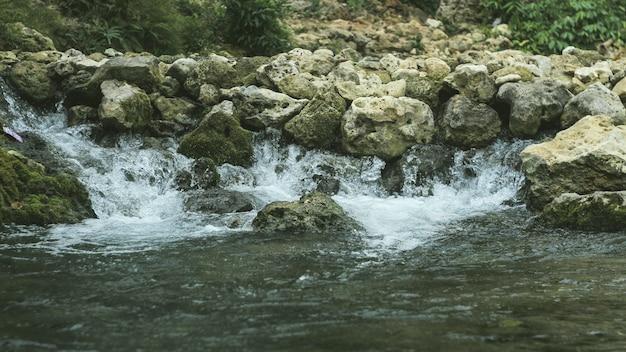 A água da nascente natural das montanhas