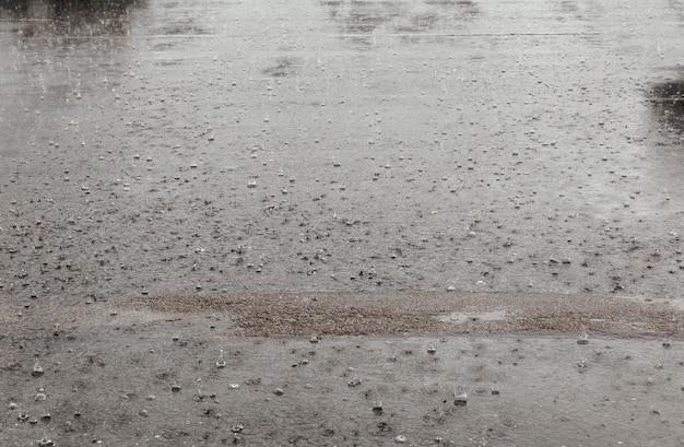 A água de chuva da estrada deixa cair o fundo com reflexão e círculos do céu azul no asfalto escuro. previsão.