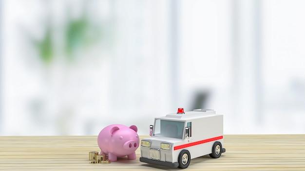 A ambulância e o cofrinho na mesa de madeira para cuidados de saúde ou conceito médico. renderização em 3d