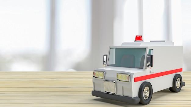 A ambulância na mesa de madeira para cuidados de saúde ou conceito médico. renderização em 3d