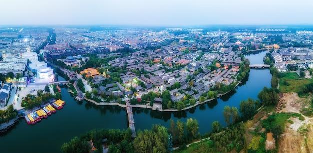 A antiga cidade de taierzhuang, shandong, china, da perspectiva da fotografia aérea