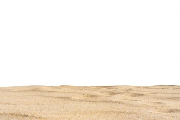 A areia da praia texture o fundo branco di-cut.