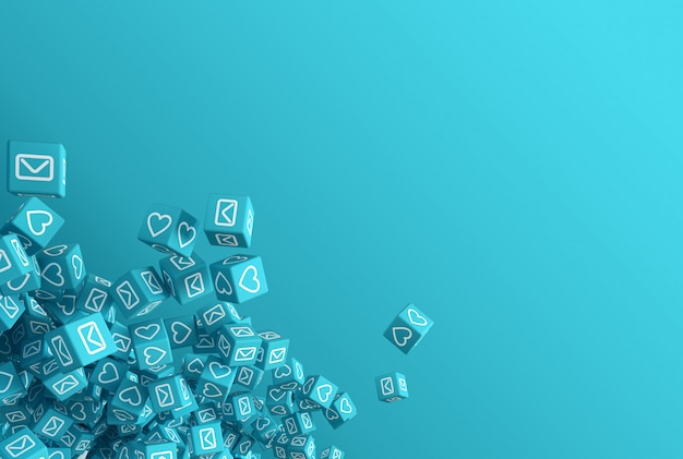 A arte conceitual sobre o tema da ilustração 3d de redes sociais
