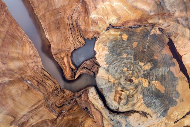 A árvore cortou a seção da fatia, forma desigual, textura natural, vintage colorido marrom macio e amarelo do coto colorido rachado fundo colorido velho. faça você mesmo conceito de arte.
