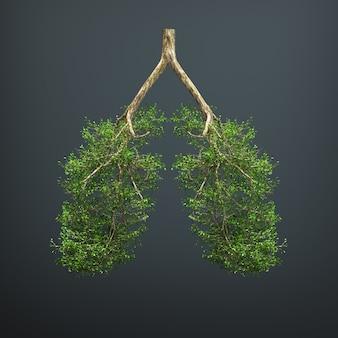 A árvore cresce na forma de um pulmão humano.