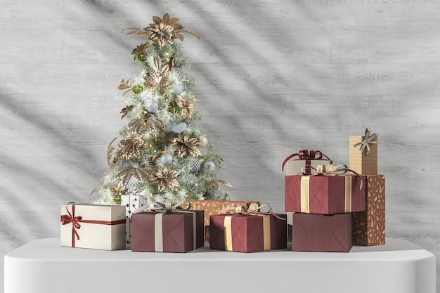 A árvore de natal e muitas caixas de presente em um pedestal branco, sombra de plantas tropicais em fundo branco de madeira. renderização 3d